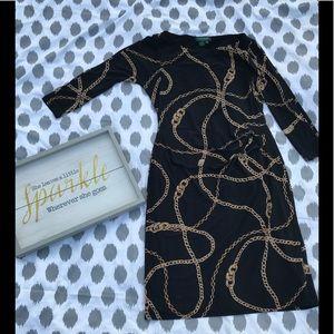 A Ralph Lauren Black Gold Chained Dress